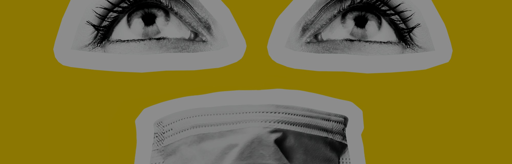 Medical mask protection against coronavirus, eyes and mouth close-up. The background is yellow. The eyes and masks are black and white. Mask from infection. Modern art collage, yellow background.