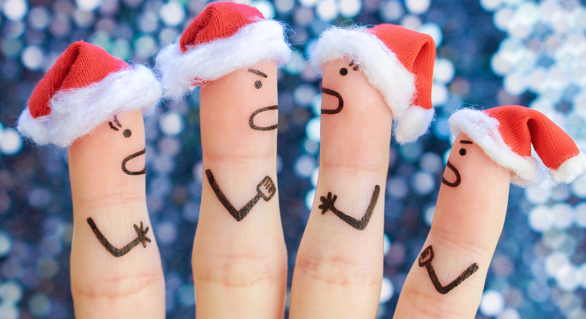 Fingers art of of people during quarrel in New Year.