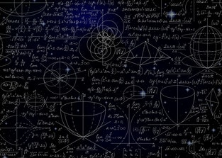 A blackboard can be seen with various formulae, calculations, and figures on it drawn by thin white walk.