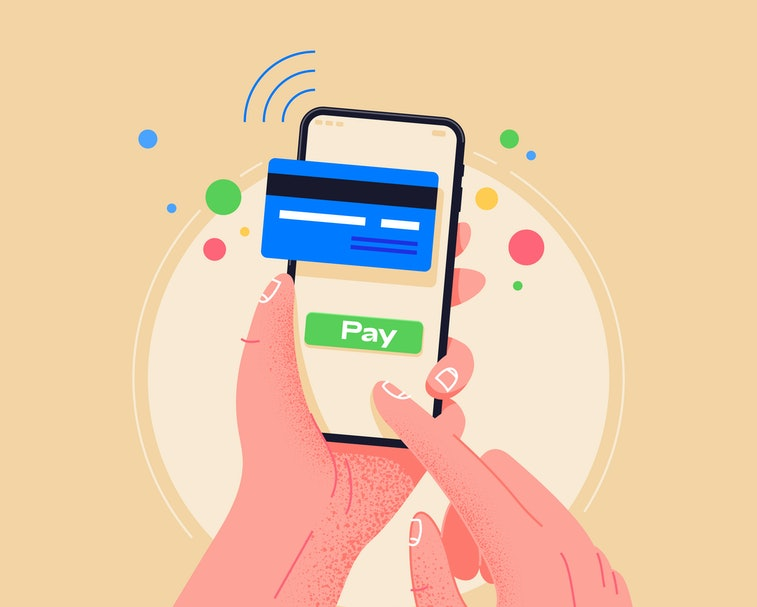 A user's hands can be seen. They are holding a smartphone and using the pay by credit card via electronic wallet option. There are red, blue, red, yellow circles suspended in the air, in front of a pale yellow background.
