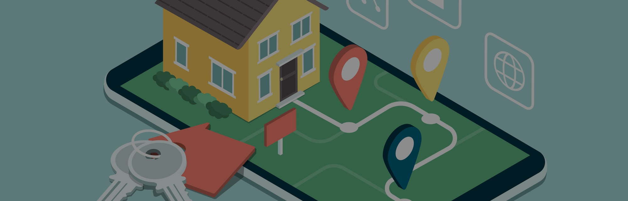 A house for sale can be seen on a smartphone with little location targets popping up at different points. There are signs for maps and a lock in the air.