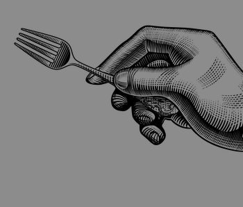 Hand with a fork. Vintage stylized drawing. Vector illustration