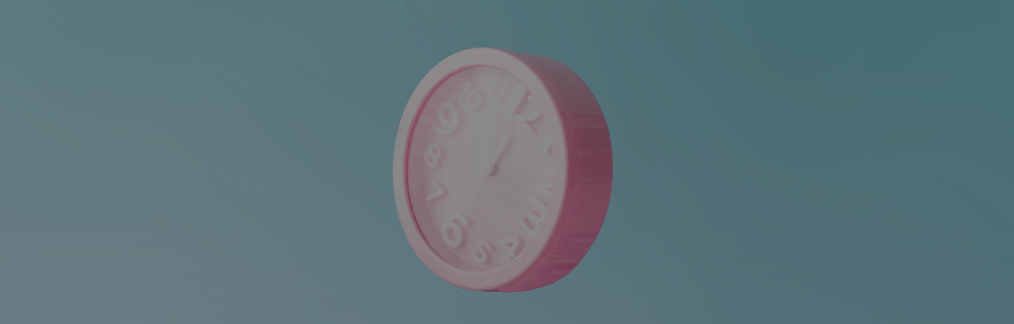 Pastel pink wall clocks on blue backdrop falling down. Time concept. Minimal composition.
