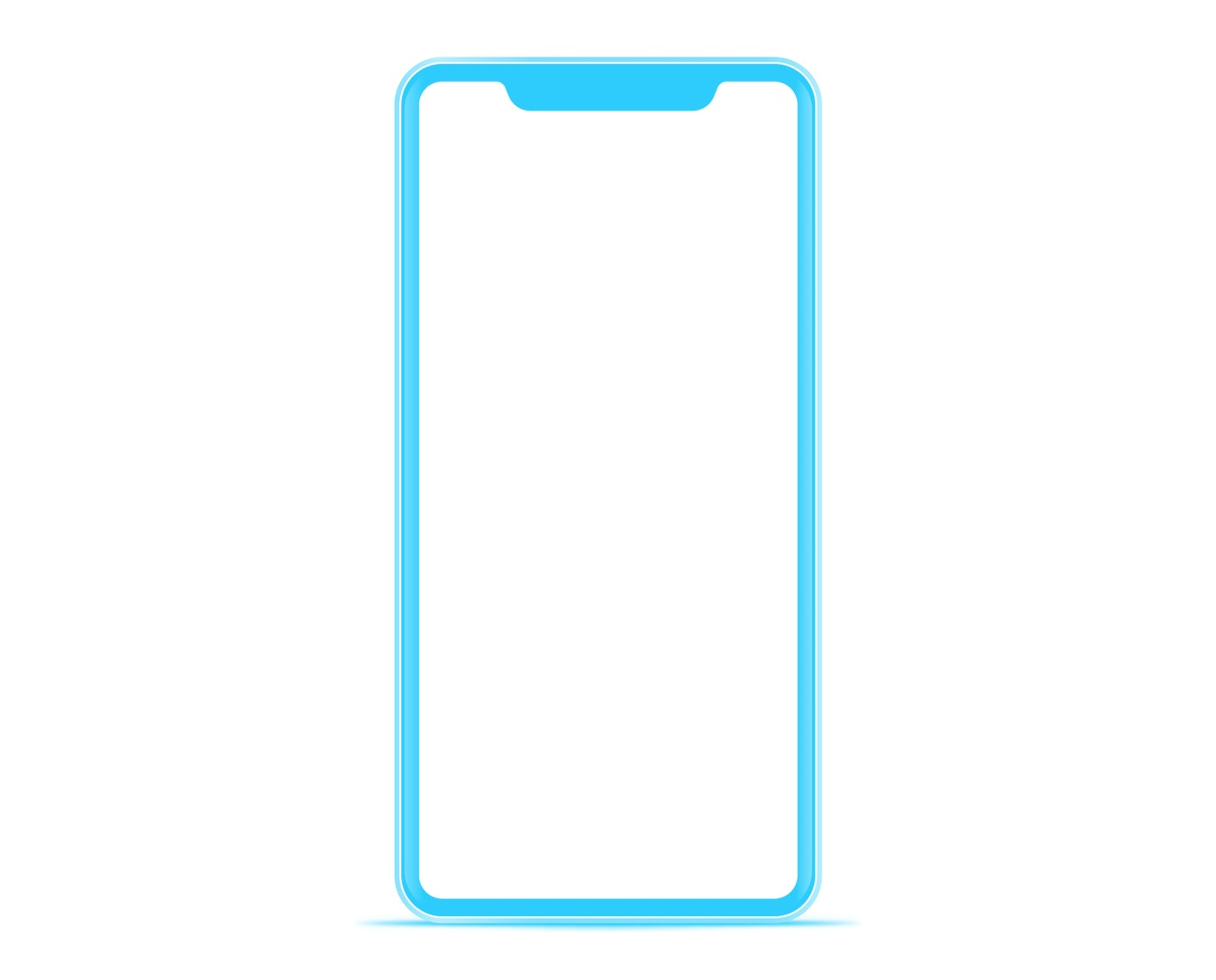 smartphone The shape of a modern mobile phone Designed to have a thin edge.