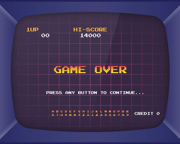 Retro arcade game machine. Screen background and font. Vector illustration.