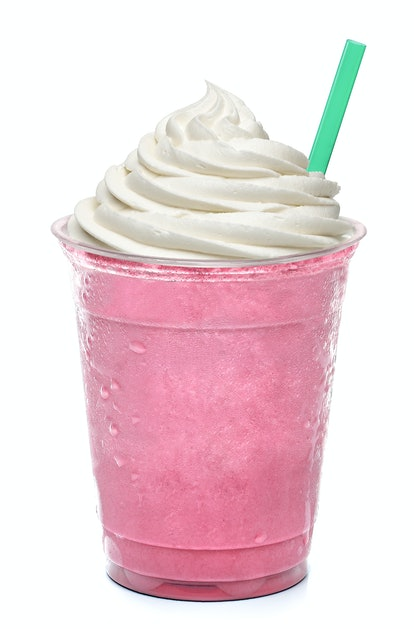 Strawberry frappuccino, latte with creme on white background