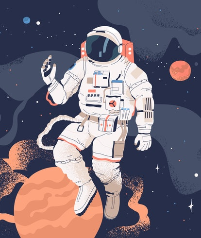 Astronaut exploring outer space. Cosmonaut in spacesuit performing extravehicular activity or spacew...