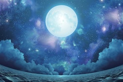 Surreal seascape with beautiful nebula, silver full moon and shimmering sea surface in fisheye view, 3d illustration