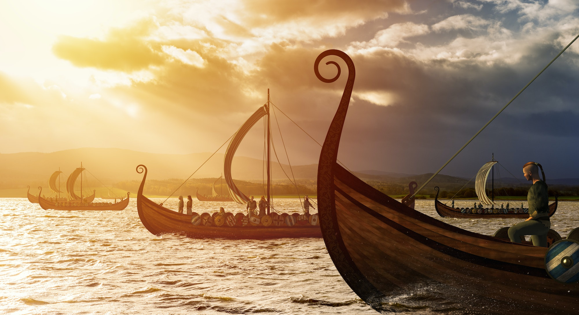 Viking ships on the water under the sunlight and dark storm. Invasion in the storm. 3D illustration.