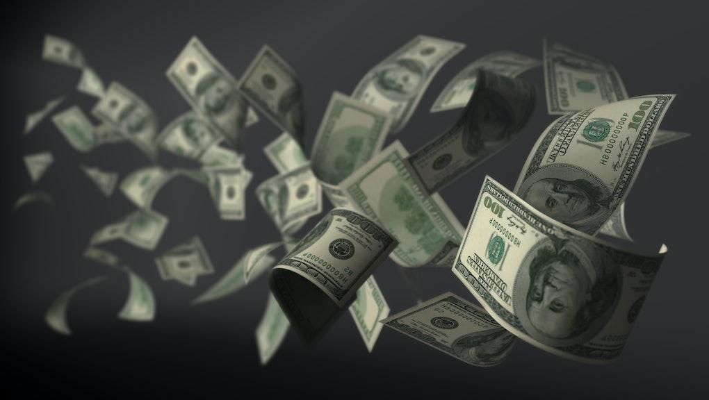 Banknote 100 dollar flying 3d render on dark background clipping mask inside