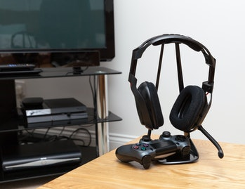 gaming headphones and controller