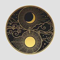 Decorative graphic design element in oriental style. Sun, Moon, clouds, stars. Vector hand drawn illustration