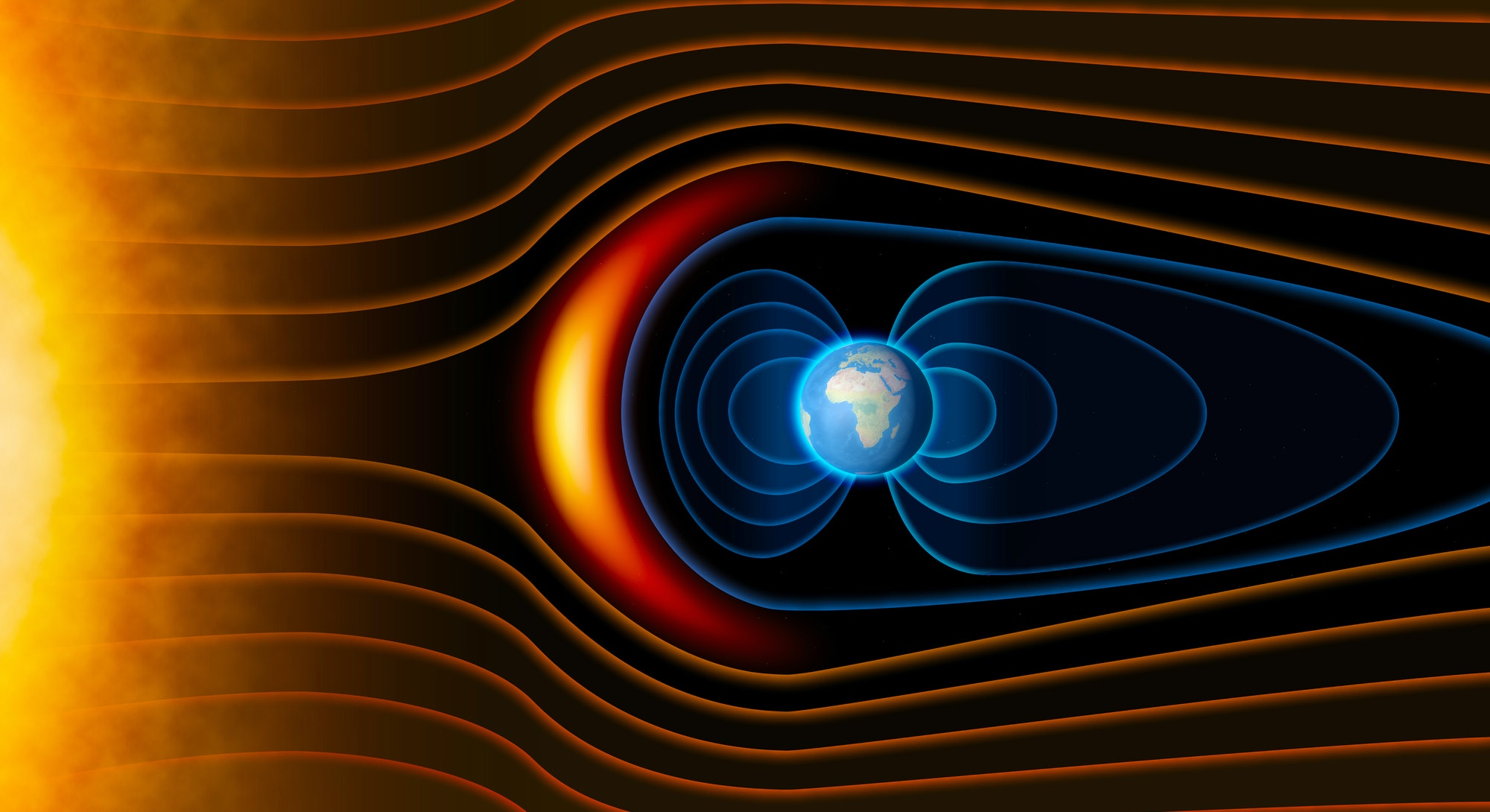 Earth's magnetic field, the Earth, the solar wind, the flow of particles. Sun. Element of this image...