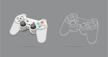 Keypad, gamepad, controller, input device. Console gaming, video games, entertaiment, arcade. Retro ...