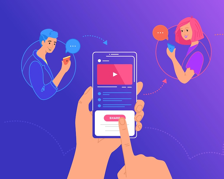 A group of three in separate bubbles can be seen on their smartphones. A hand is holding a smartphone with a video playing on it. The dominant colors in this artistic illustration are deep blue, light blue, red, white, beige, and orange.