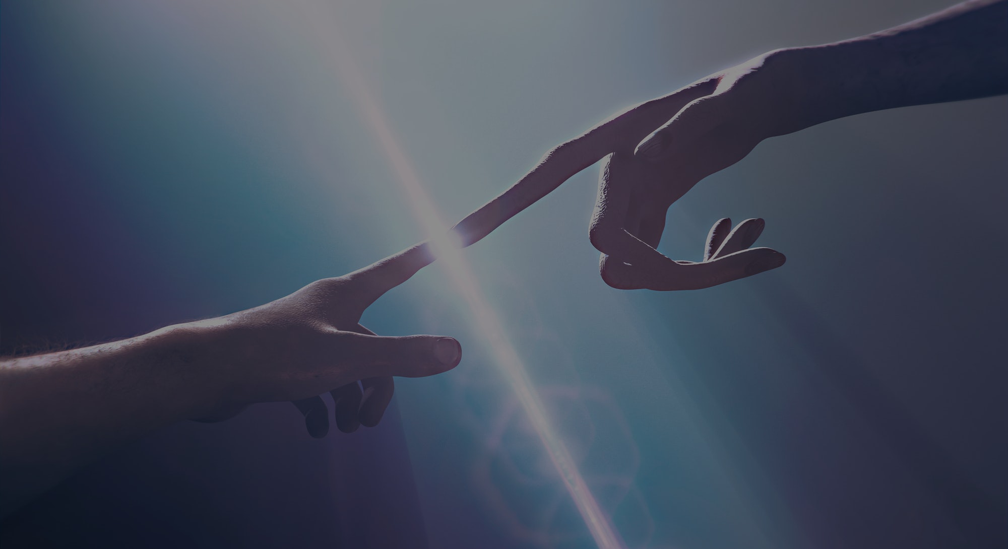 Extraterrestrial hand contact human hand - alien first contact  - artistic representation - 3d rende...