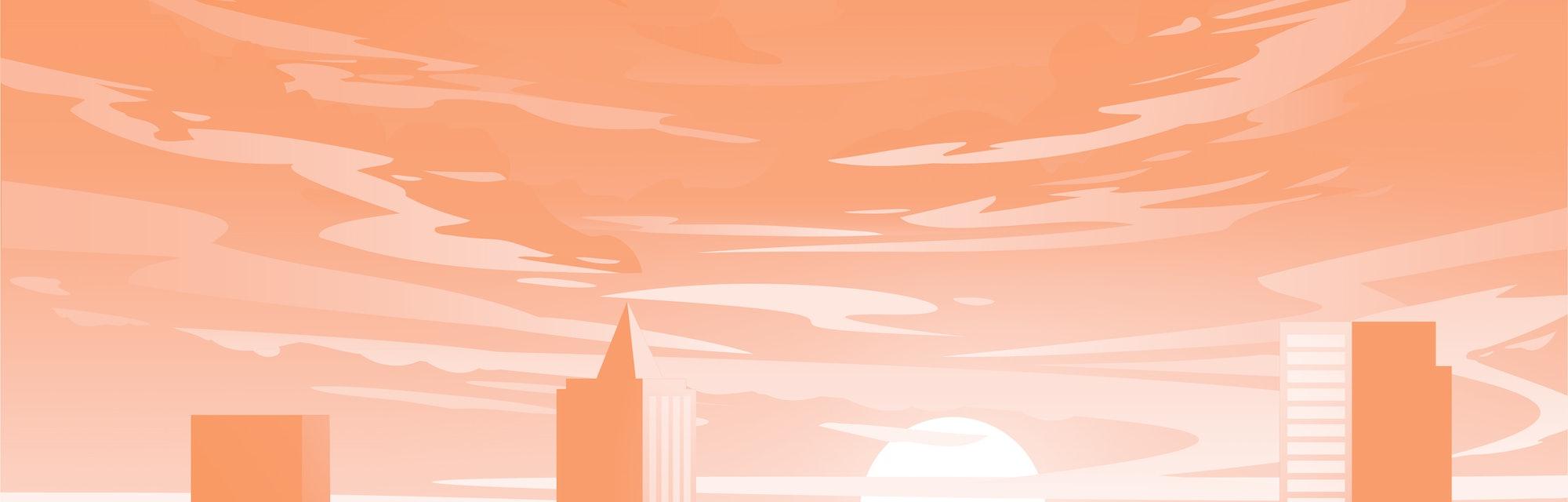 Evening city panorama, vector, sunset. Flat anime style