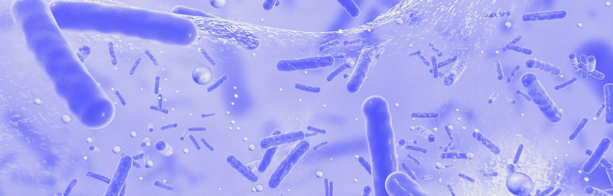 Antibiotic resistant bacteria inside a biofilm, 3D illustration. Biofilm is a community of bacteria ...