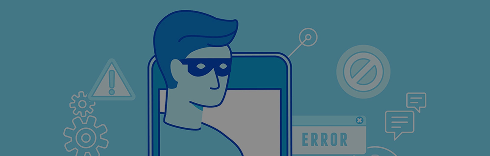 Vector illustration in modern flat linear style. A hacker can be seen stealing credit card data. The dominant colors in this illustration are light blue, dark blue, teal, soft white, and green.