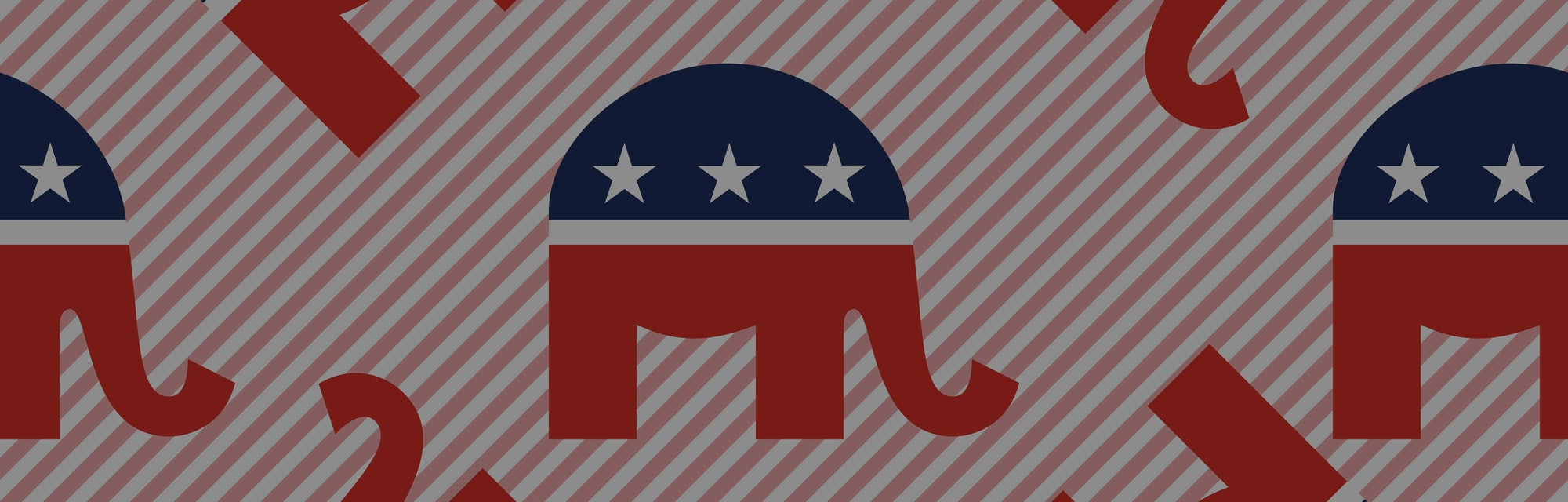 A sheet of stickers showing the Republican elephant in red, white, and blue.