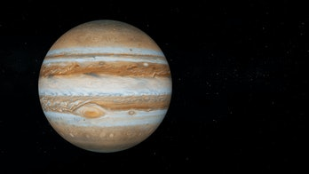 Jupiter with text space on the right. Realistic 3D Jupiter and stars. Jupiter from space.