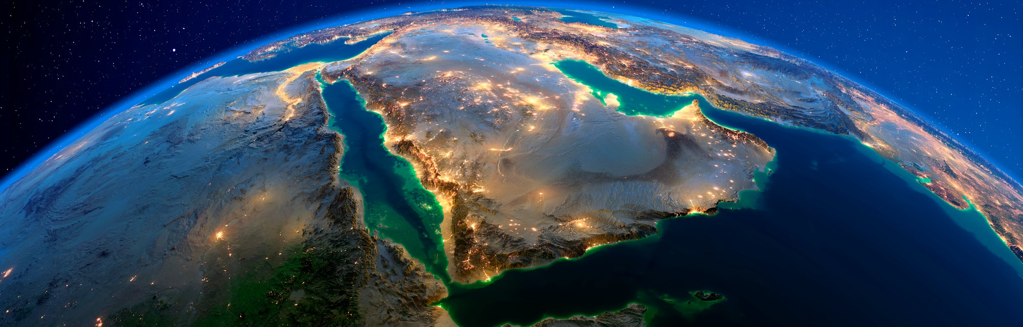 Planet Earth with detailed exaggerated relief at night lit by the lights of cities. Saudi Arabia. 3D rendering. Elements of this image furnished by NASA