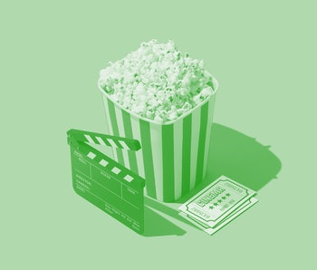 Cinema and entertainment: popcorn, clapperboard and movie theater tickets.