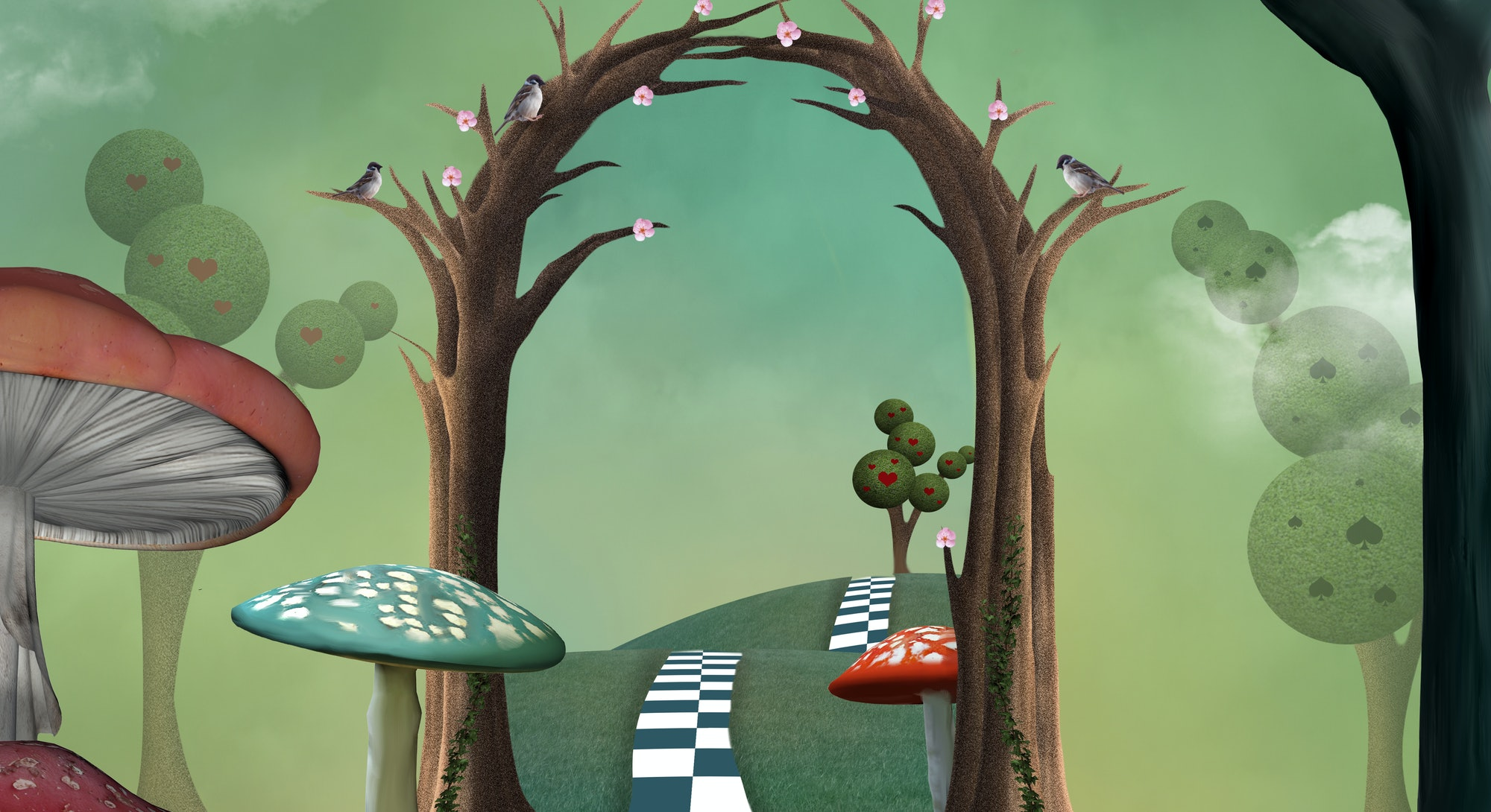 Wonderland surreal landscape with a magic passage and a cheshire cat watching the scene on a tree branch - 3D illustration.