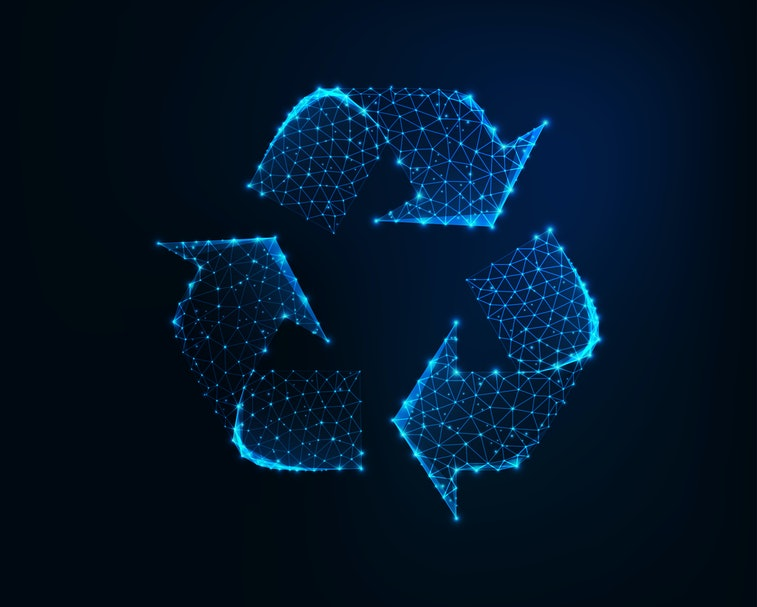 Glowing low polygonal recycle sign icon mafe of connected lines, stars, triangles on dark blue background. Ecology, waste recycling concept. Futuristic wireframe design vector illustration.
