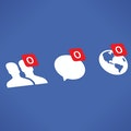 Facebook's friendship, message, and post features can be seen in white. The background is Facebook blue, deeper than the regular shade. Each feature depicts a zero in a red bubble, indicating inactivity.