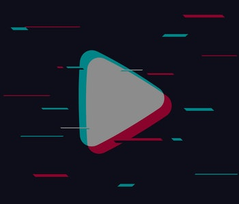 Arrow plays in front of a futuristic background. It carries TikTok's blend of colors: light green, white, and light magenta.