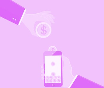 hand hold phone with coin save money online,Payment, refill your mobile phone,vector illustration,business concept