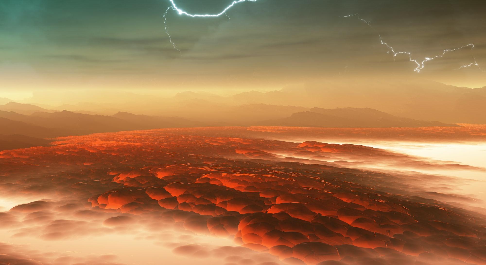 Surface of Venus. Hot lava flows on Venus. 3d illustration
