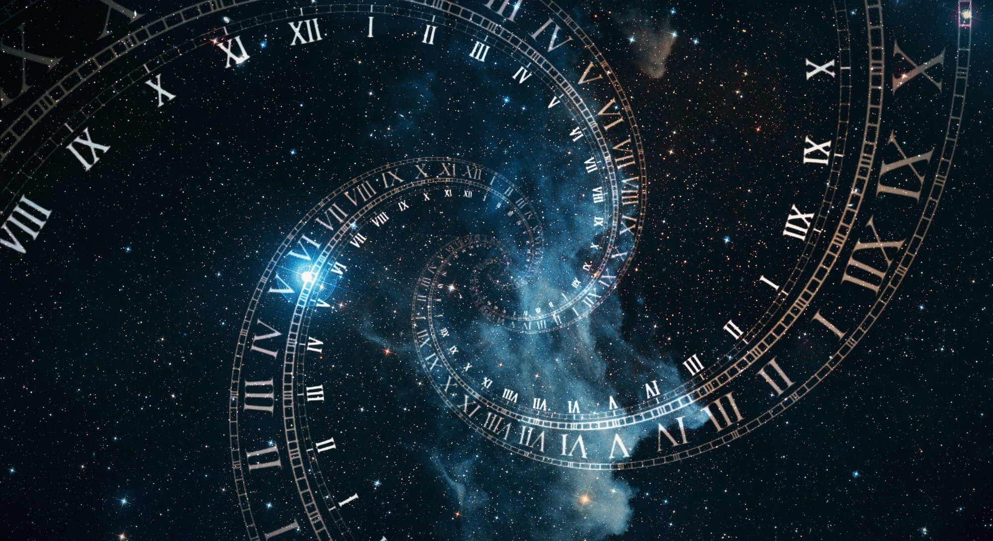 The composition of the space of time, the flight in space in a spiral of Roman clocks 3d illustratio...
