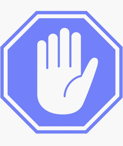 Simple red stop roadsign with big hand symbol or icon vector illustration