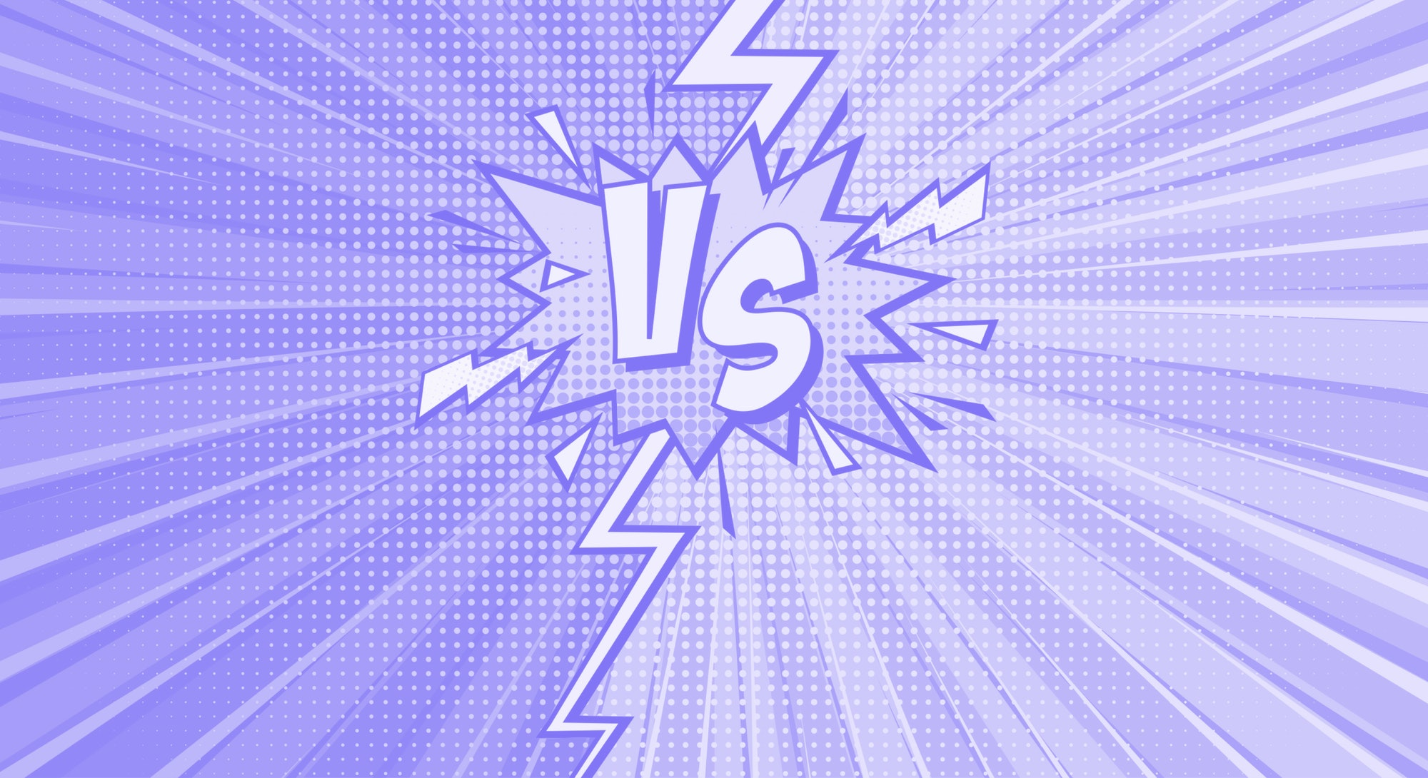 Cartoon comic background. Fight versus. Comics book colorful competition poster with halftone elemen...