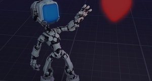 Screen robot figure character pose with Valentine heart virtual, 3d illustration, horizontal