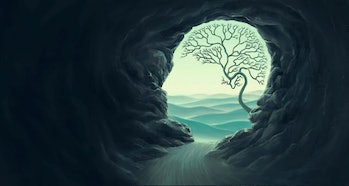 Tree brain with human head cape, idea concept of thinking  hope freedom and mind , surreal artwork, ...