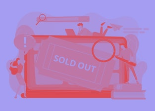 Popular show, best concerts and music festivals searching. Online booking system. Sold-out event, sold-out crowd, no tickets available concept. Pink coral blue vector isolated illustration