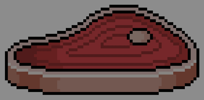 Pixel art beef steak. 8bit game item on white background