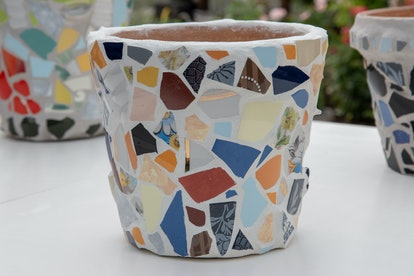 homemade mosaic flower pot with  porcelain pieces