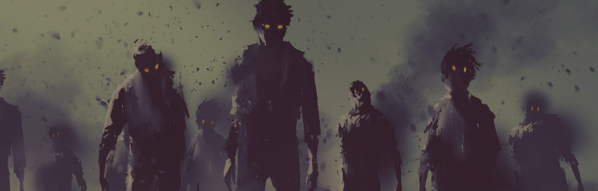 zombie crowd walking at night,halloween concept,illustration painting