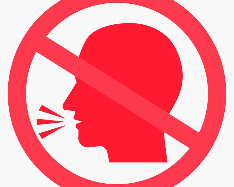 Silence please label. No talking, chatting pictogram. Speaking not allowed circle sign. Isolated vector illustration with man head silhouette.