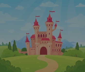 Fairytale landscape with castle. Fantasy palace tower, fantastic fairy house or magic castles kingdom. Old medieval stone tale castle architecture building cartoon vector background