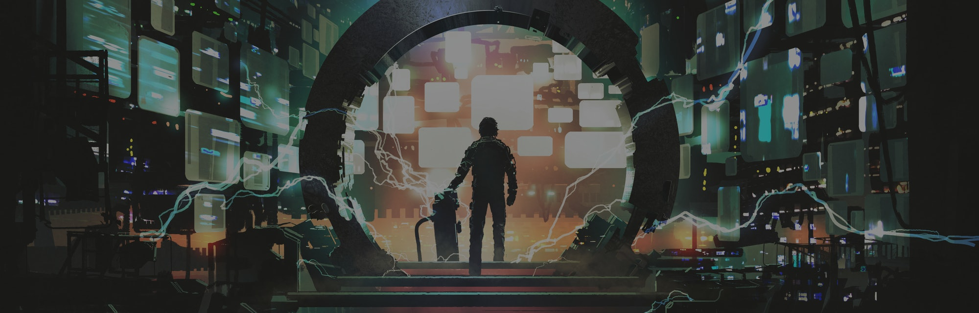 sci-fi concept showing a man standing at the futuristic portal, digital art style, illustration pain...