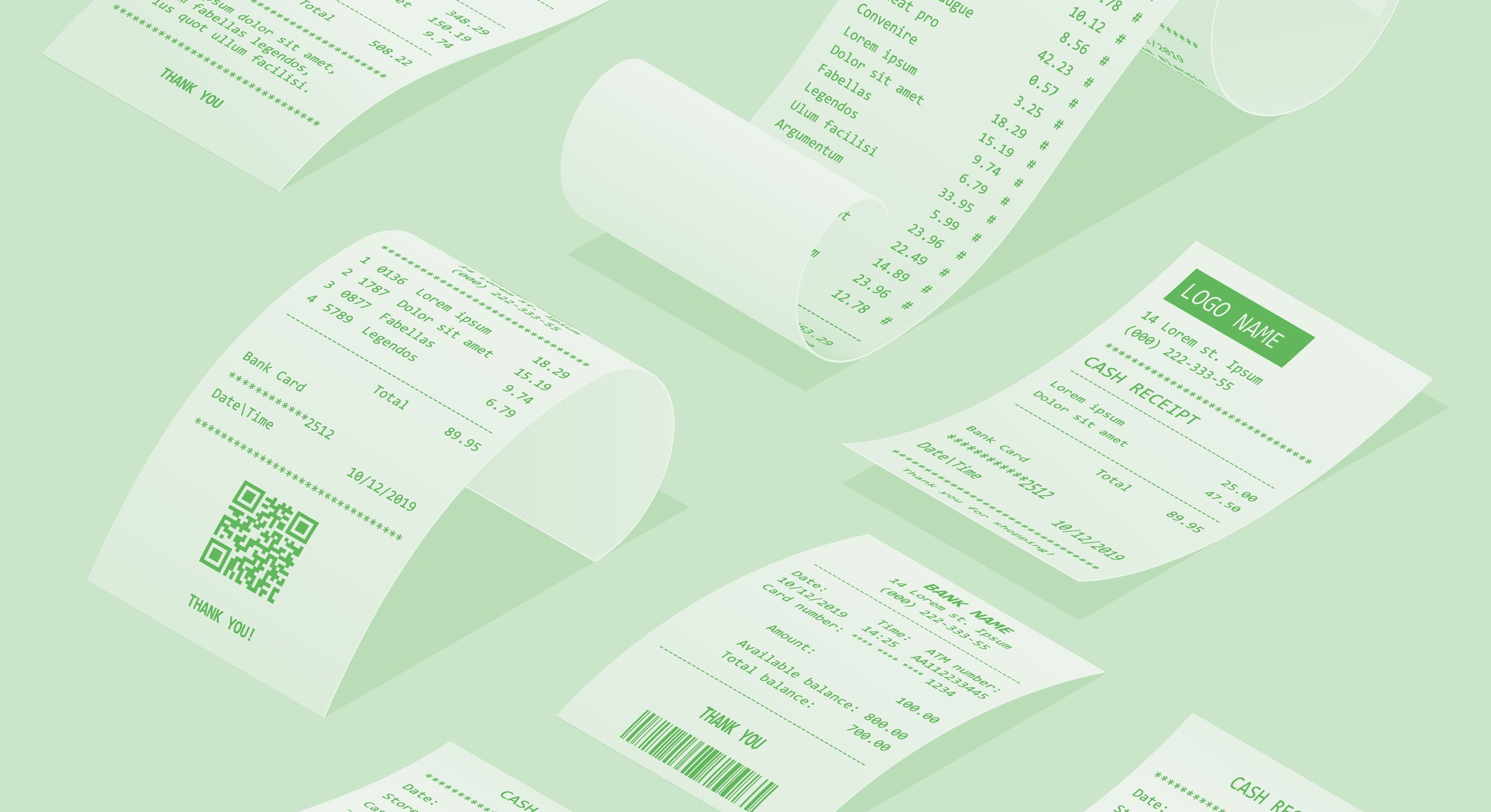 Isometric set of paper check and financial check isolated. Cash register sales receipts printed on thermal rolled paper. Cash receipt vector illustration