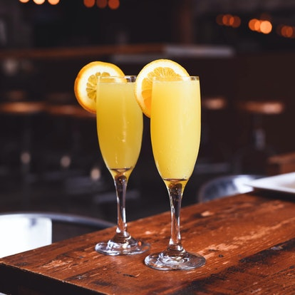 Brunch mimosa set up with champagne