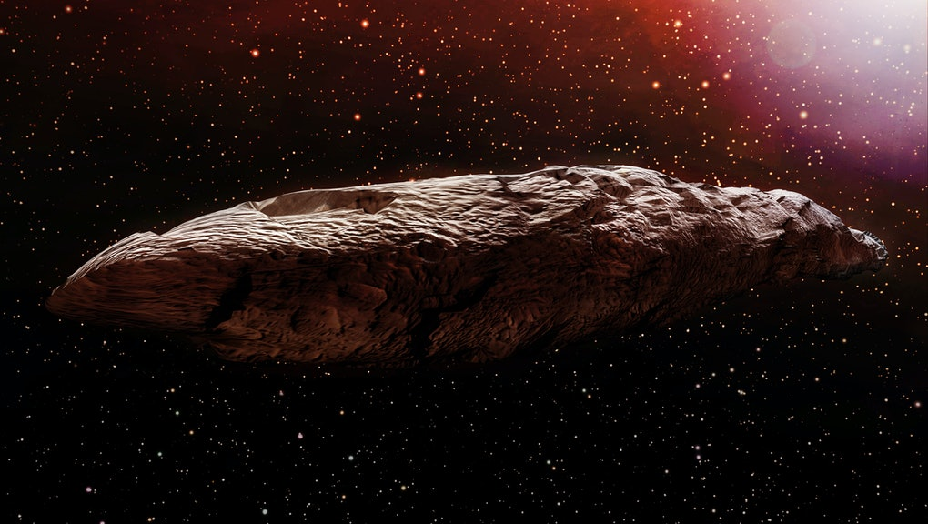 A 3D illustration of the interstellar object known as Oumuamua. Originally classified as an asteroid, Oumuamua is an object estimated to be about 230 by 35 meters (800 ft x 100 ft) in size.