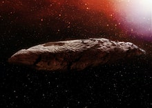 A 3D illustration of the interstellar object known as Oumuamua. Originally classified as an asteroid...