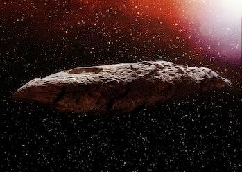 artist's rendering of Oumuamua